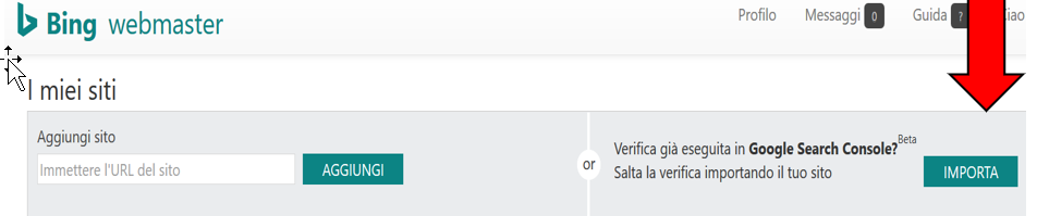 Tool per importare un sito grazie sincronizzazione con la Google Search Console