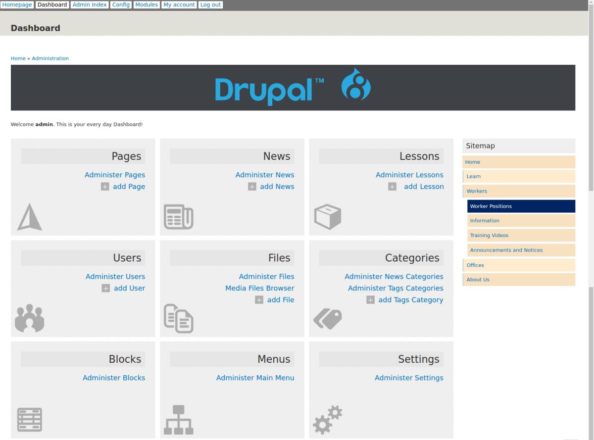Il menu back-end di Drupal