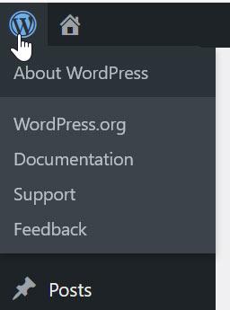Il menu generale di WordPress