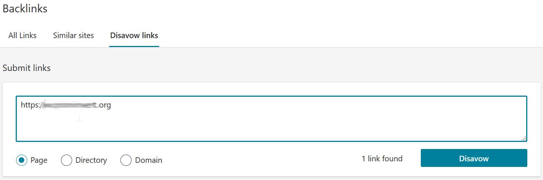 Esempio di come usare il Disavow links tool
